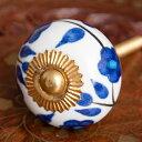 アジアンデザインの取っ手 陶器のプルノブ(ドアノブ)〔4cm〕 / DIY インテリア アンティーク...