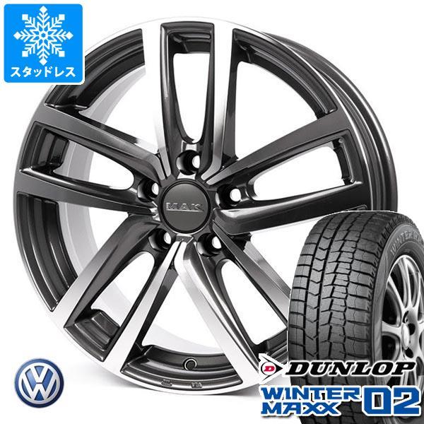 VW ポロ 6R系用 2020年製 スタッドレス ダンロップ ウインターマックス02 WM02 185/60R15 84Q MAK ドレスデン タイヤホイール4本セット