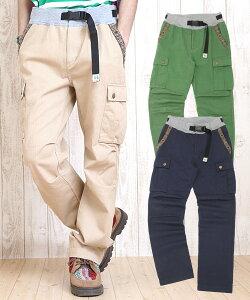 ポケットのテープが決め手の、使い勝手のいいメンズ・カーゴパンツ!簡易ベルトがついて、着やす...