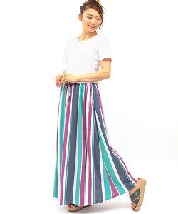 マルチストライプマキシスカート