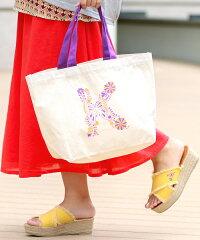 イニシャル刺繍プリントバッグ
