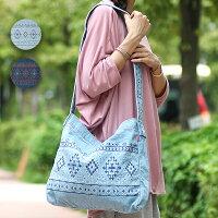 ダンガリー刺繍ショルダーバッグ
