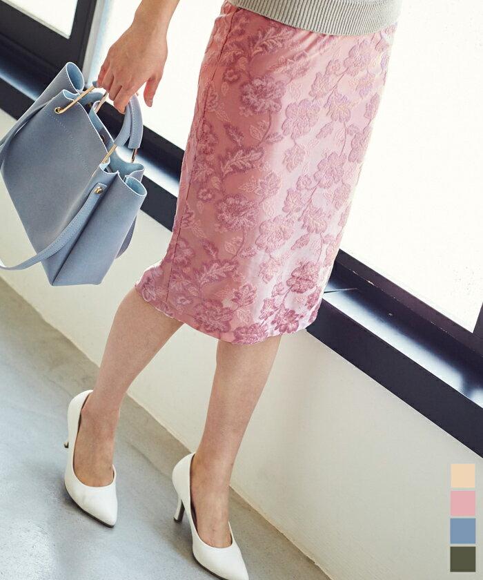 ジャガード風ベロアタイトスカート