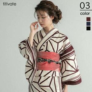 [Artículo individual] Yukata de lino de algodón con patrón clásico de hoja de cáñamo / Mujer / Yukata / Banda / Yukata Individual / Nudo / Acabado / Tela de lino de algodón / Patrón clásico / Retro