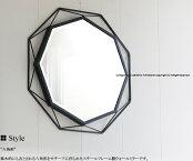 【送料無料】GEMSBKウォールミラーブラック黒八角形風水ダイヤ型壁掛け吊り鏡鏡カガミかがみエレガントスチール玄関