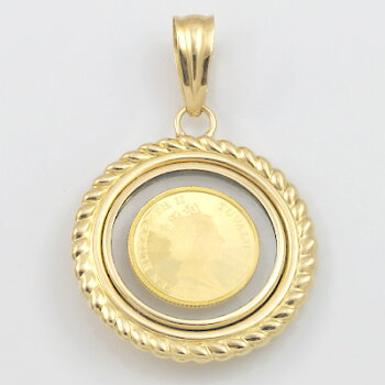 K18枠コインペンダントツバルホース(純金)2010年製1/25オンス3ドルペンダントトップ(トップのみの販売です。チェーンは非付属)18金24金