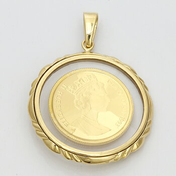 K18枠コインペンダントマン島キャット(純金)1993年製1/10オンスペンダントトップ(トップのみの販売です。チェーンは非付属)18金24金ゴールド