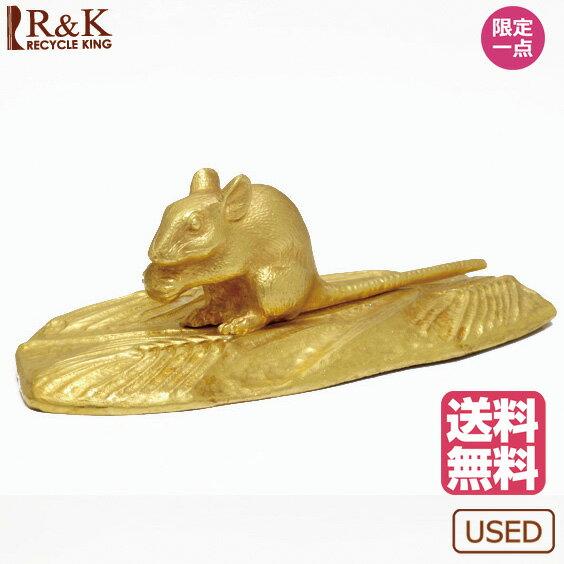 【送料無料】【中古】24金 金製 ねずみ 置物 約137.1g 黄金展 縁起物 インテリア ネズミ マウス 麦 稲 田んぼ ゴールド K24 純金 干支 十二支 子年 かわいい おしゃれ