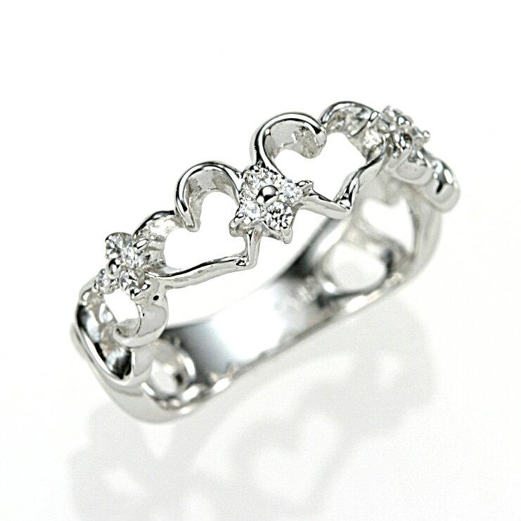 K10WG ダイヤプチハートピンキーリング 指輪 10金 ファランジリング 【送料無料】 【新品】 おしゃれ レディース 女性 かわいい 可愛い オシャレ