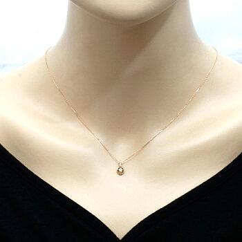 ○K18PGダイヤモンドネックレスD0.086/D0.02花フラワー18金ピンクゴールド