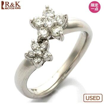 ●K18WGダイヤモンドピンキーリングD0.26フラワー18金ホワイトゴールド