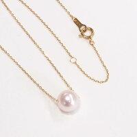 あこや真珠一粒7-7.5mmパールK18ネックレススルーネックレス1粒スルーペンダント本真珠4面ダイヤカットチェーン【レディースアクセサリーシンプルおしゃれ】