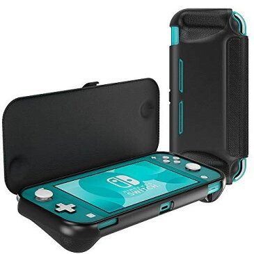 Nintendo Switch Lite ケース ATiC スイッチライト ケース Switch Lite フリップカバー 分離可能「PCフリップカバー+TPU背面ケース」 全面保護 人間工学グリップ 耐衝撃 落下防止 滑り止め 持ちやすい シンプル Black