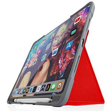 STM Dux Plus Duo Apple ipad 第7世代 第8世代 ケース 高耐久スマートケース Apple Pencil用ホルダー内蔵 瞬時オンオフマグネットスタンドカバー 人間工学 耐衝撃 丈夫 背面透明 (レッド)