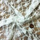 【生地・布】ホワイト ナイロン ラッセルレース 花柄 国産 ショール ...