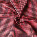 【生地・布】赤×黒 ポリエステル リバーシブル 千鳥格子 プリント 国...