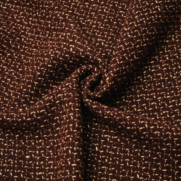 【生地・布 レディース ファッション】茶 ウール 肉厚 変わり織り(ザックリ調) 国産 広幅 ジャケット スカート ひざ掛け ベスト 婦人服 紳士服 手芸 小物 雑貨 インテリア 激安セール(h-1180)