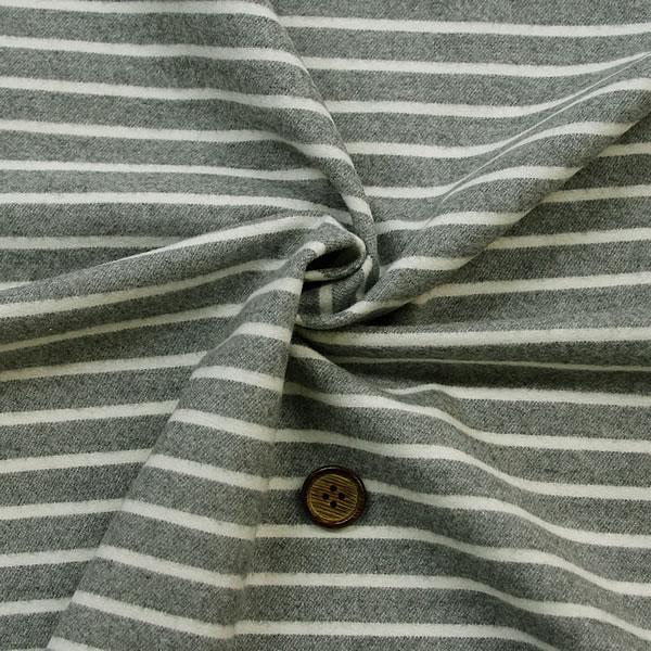 【生地・布 レディース】 グレー×白 綿 ツイル 先染 起毛 ボーダー柄 衣料 服地 国産 広幅 シャツ スカート ブランケット 他 小物 雑貨 激安 セール(h-1283)