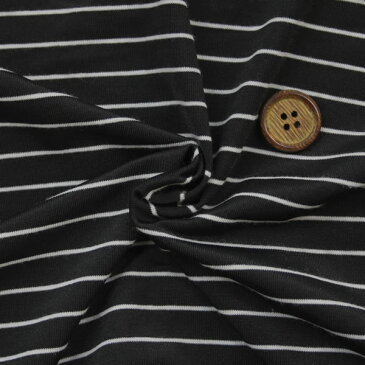 【生地・布】ブラック/ホワイト ポリエステル 2way ストレッチ 天竺先染めボーダー柄 国産 広幅 Tシャツ タンクトップ キャミソールなどのトップス 婦人服 子供服 紳士服 手芸小物雑貨インテリア 激安 セール(h-1336)