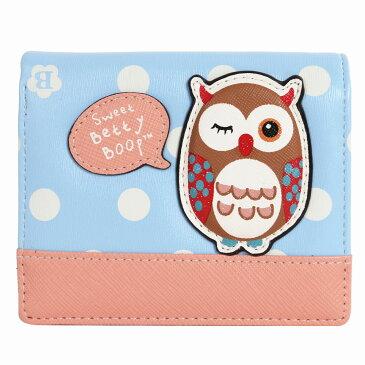 BettyBoop かわいい フクロウ 刺繍 ミニ財布 極小財布 手のひらサイズ レディース財布 財布レディース 二つ折り財布 小銭入れ有り コインケース