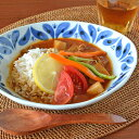 【砥部焼 陶房遊】ブルーフラワーのカレー鉢