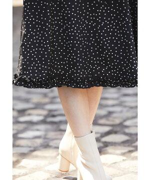 【lenovyレノヴィー】toccocloset(トッコクローゼット)Collection宇垣美里さんはブラック着用≪Check&Tweed≫toccoトッコレディースウエストりぼん襟付きドット柄ワンピースブラックグリーン
