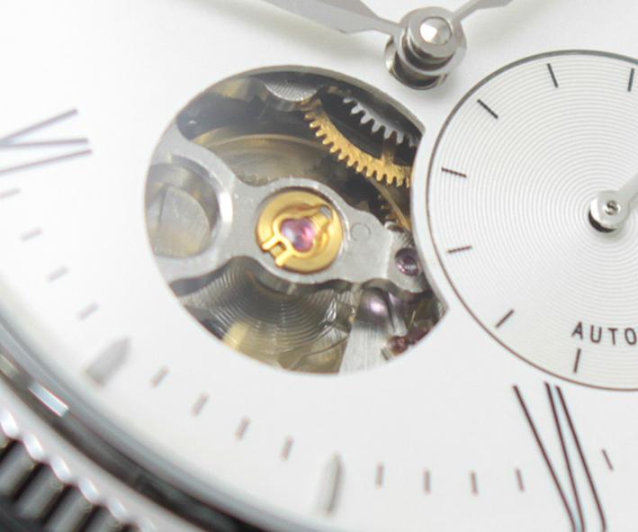 自動巻き 機械式 メンズ腕時計 ブランドEYKI オフホワイト文字盤 メンズウォッチ  オープンハート スモセコ 3針 ステンレスベルト