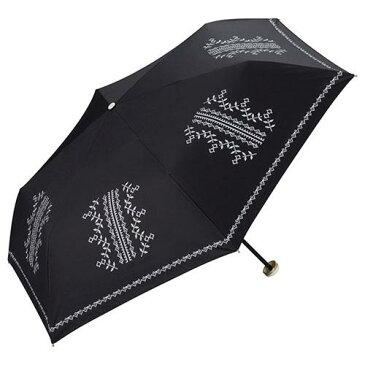 【ママ割エントリーでポイント6倍】【w.p.c】 晴雨兼用 折傘 「遮光クロスステッチプリント (ブラック)」