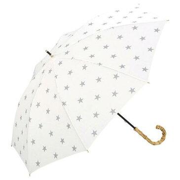 【ママ割エントリーでポイント6倍】【w.p.c】 晴雨兼用 手開き傘長傘 「スタンプスター柄(オフホワイト)」