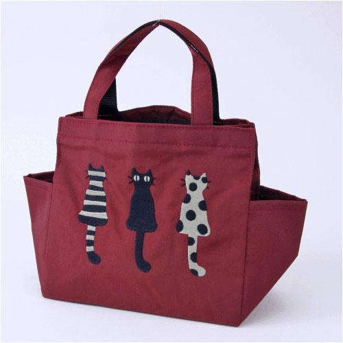 產品詳細資料,日本Yahoo代標|日本代購|日本批發-ibuy99|包包、服飾|包|女士包|手提袋|【マタノアツコ(ATSUKO MATANO)】【日本製】刺繍マチ付トートバッグ「仲良し猫 (レッド…