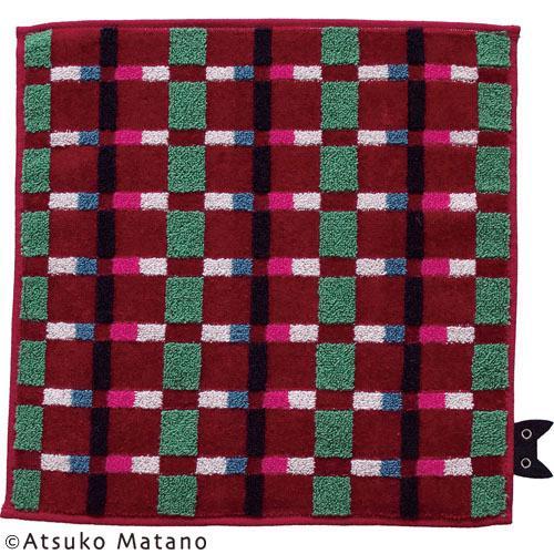 【メール便OK】【マタノアツコ(ATSUKO MATANO)】【日本製】タオルハンカチ「カジュアルなチェック(レッド)」