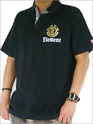 エレメントMEN'S ポロシャツM〜XLまで胸の箔プリがポイント!他カラーあり