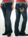 ■刺繍とビーズでオシリをキュートに♪リメイク風デザインデニム【OP】WOMEM'S デニムDARK BLUE