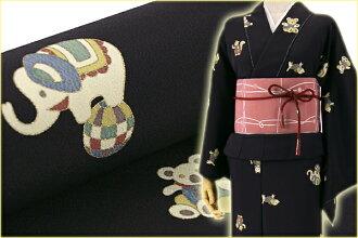 Tailoring with a full order! Pure tango Chirimen Kyo Yuzen Komon cute animals stuffed black