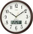 【訳あり,アウトレット品】  シチズン電波掛時計「ピュアカレンダーM03」4FYA03-097-06