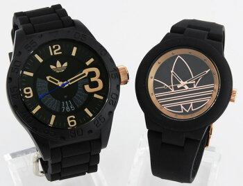 adidasアディダスペアウォッチADH3082ADH3086海外モデルメンズレディース腕時計ラバーバンドクオーツアナログ黒ブラック金ピンクゴールド