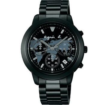 SEIKOセイコーagnesb.アニエスべーFCRT305国内正規品メンズ男性用腕時計ウォッチメタルバンドクロノグラフクオーツアナログ黒ブラック