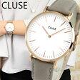 CLUSE クルース La Boheme ラ・ボエーム CL18015 38mm 海外モデル レディース 腕時計 ウォッチ 革バンド レザー クオーツ アナログ 白 ホワイト グレー