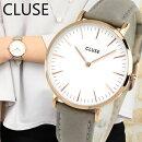 CLUSEクルースLaBohemeラ・ボエームCL1801538mm海外モデルレディース腕時計ウォッチ革バンドレザークオーツアナログ白ホワイトグレー