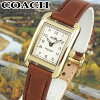 COACHコーチTHOMPSONトンプソン14502297海外モデルレディース腕時計ウォッチ革バンドレザークオーツアナログ白ホワイト茶ブラウン金ゴールド