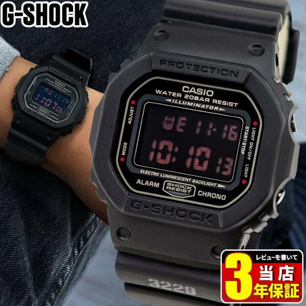 CASIOカシオGショックG-SHOCKORIGINデジタルスクエアメンズ腕時計時計多機能防水マットブラック黒レッドアイDW-5