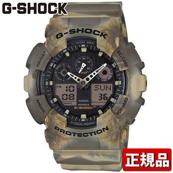 CASIOカシオG-SHOCKGショックGA-100MM-5AJFカモフラージュクオーツメンズ腕時計ブラウン茶国内正規品