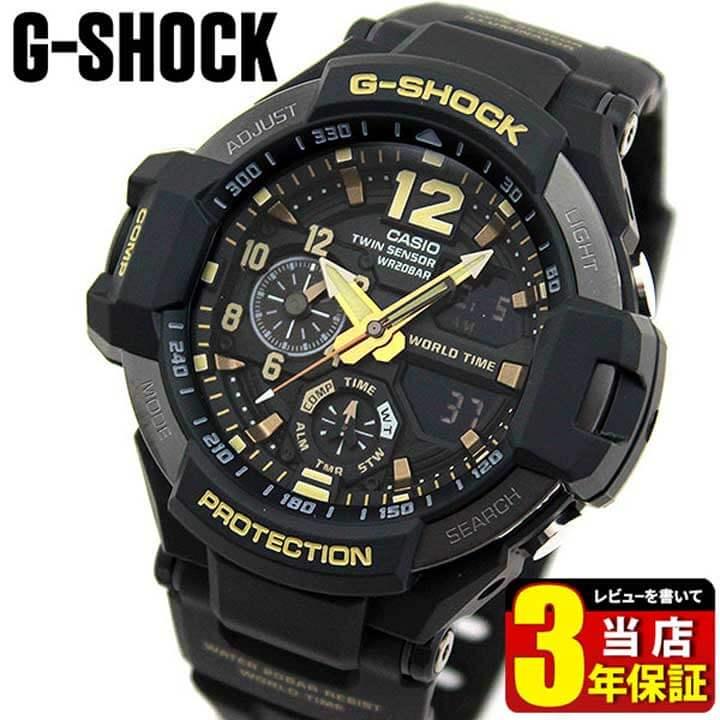 腕時計, メンズ腕時計 CASIO G-SHOCK G GULFMASTER MASTER OF G Vintage Black Gold GA-1100GB-1A