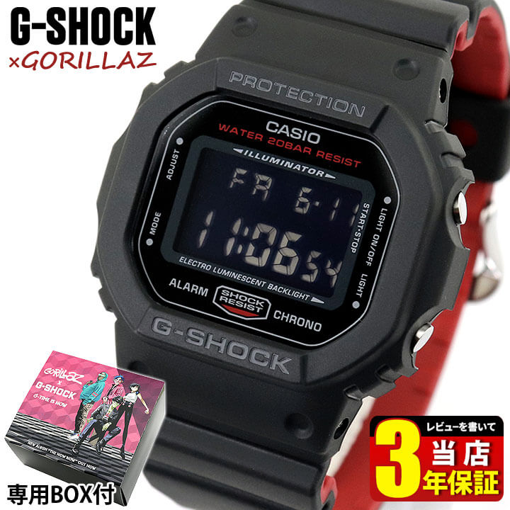 腕時計, メンズ腕時計 CASIO G-SHOCK G BlackRed Gorillaz DW-5600HRGRZ-1