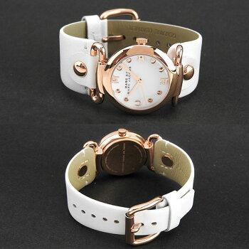 MARCBYMARCJACOBSマークバイマークジェイコブスMOLLYモーリーMBM8639海外モデルレディース腕時計ウォッチ革バンドレザークオーツアナログ白ホワイト金ピンクゴールド