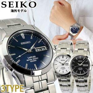 SEIKO セイコー 海外SEIKO メンズ 腕時計 メタル カレンダー クオーツ 黒 ブラック 白 ホワイト 青 ネイビー 銀 シルバー 誕生日 男性 ギフト プレゼント 海外モデル