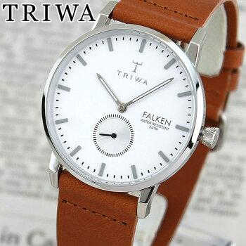 TRIWAトリワFAST103-CL010212IvoryFalken海外モデルレディース腕時計ウォッチ革バンドレザークオーツアナログ白ホワイト銀シルバー茶ブラウン