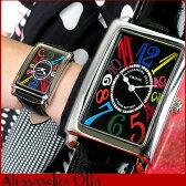 ★送料無料 Alessandra Olla アレッサンドラオーラ アレサンドラオーラ 存在感のあるマルチカラー 黒 ブラック レザー 見やすい 大きいサイズ 男女兼用 レディース メンズ 腕時計時計 AO-4500 誕生日プレゼント ギフト 母の日