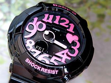 商品到着後レビューを書いて3年保証CASIOカシオBaby-GベビーGベイビージーアナログレディース腕時計新品時計ウォッチBGA-130-1B海外モデル黒ブラックピンクかわいい可愛いおしゃれNeonDialSeriesネオンダイアルシリーズ誕生日プレゼントギフト