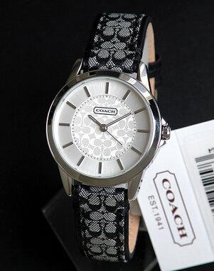 【COACH】コーチ14501524【ClassicSignature】クラシックシグネチャーレディース腕時計ブラック系レザーバンド【_包装】【smtb-KD】